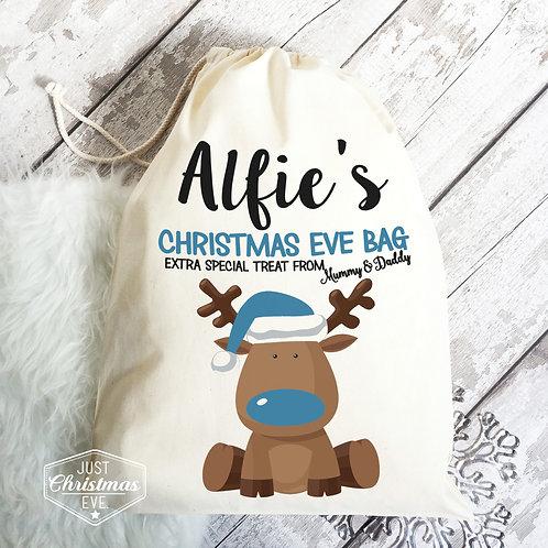Christmas eve bag, blue reindeer design.