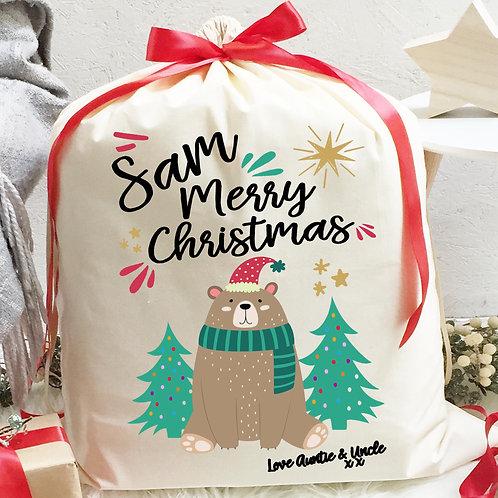 Bear Santa Sack with ribbon and Hot Chocolate