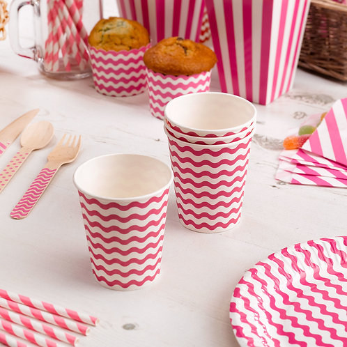 Pink hen party paper cups. Pack of 8.