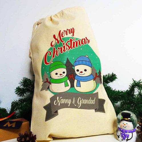 "Personalised Christmas gift bag "" SNOWMAN & SNOW WOMAN """