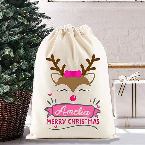 Cute pink reindeer santa sack for Christmas.