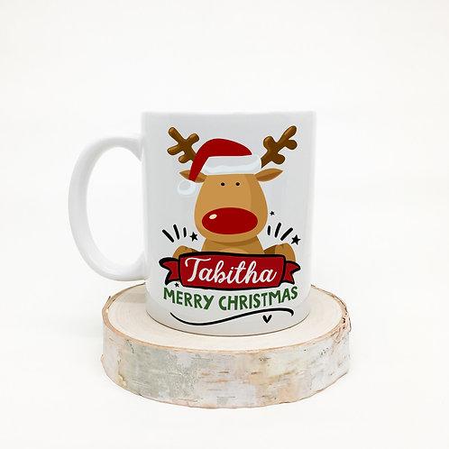 Christmas mug, reindeer design.
