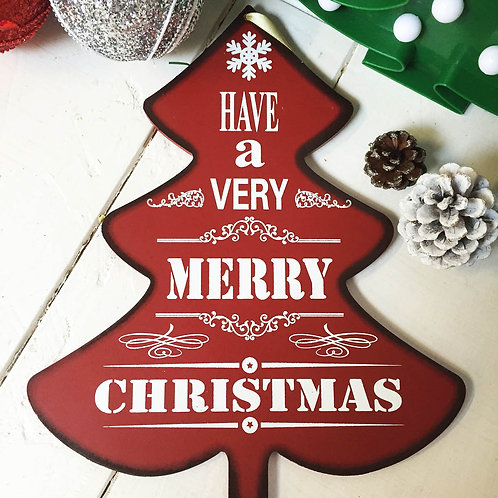 Christmas tree MERRY CHRISTMAS hanging wooden sign