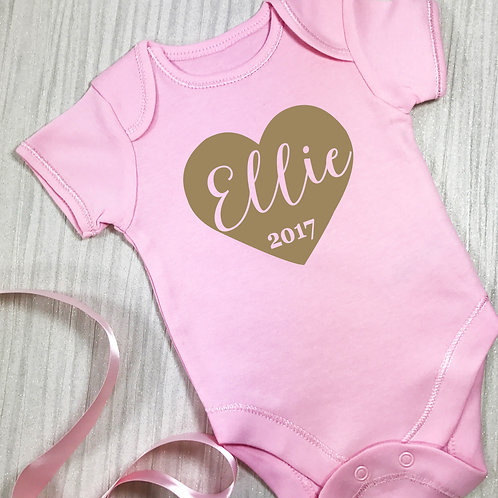 Personalised Baby Grow Vest Big Heart Pink