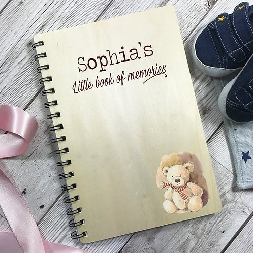 Little Book of Memories Wooden Personalised Notebook