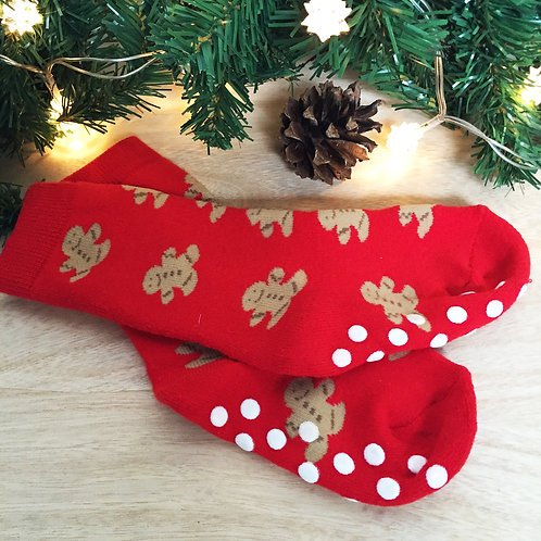 "Children's Christmas slipper socks "" GINGERBREAD MAN """