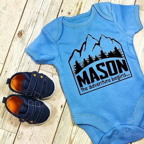 The Adventure Begins Personalised Baby Grow Vest Blue