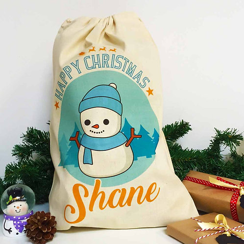 "Personalised Christmas gift bag "" BLUE SNOWMAN """