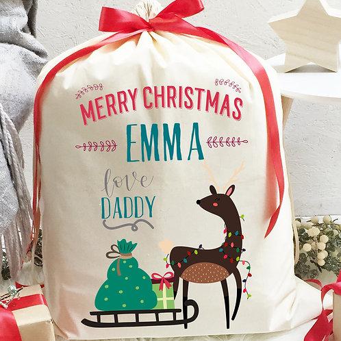 Personalised Cotton Christmas Sack | Reindeer and Sleigh