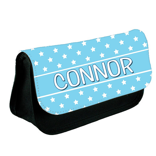 Personalised pencil case blue stars.