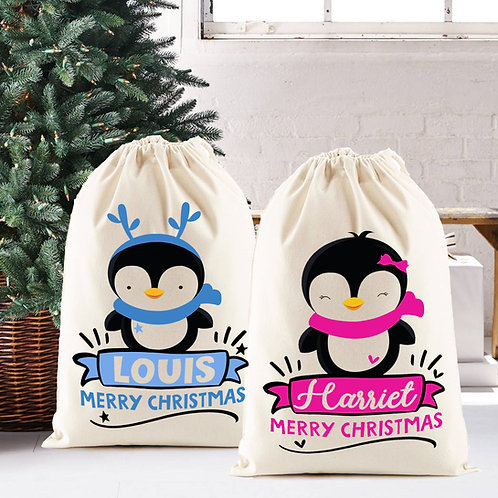 Santa Sack for your Christmas gifts, personalised with name, pink or blue pengui