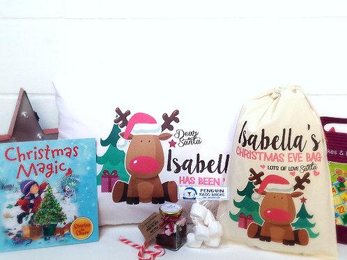 Pre filled Christmas Eve bag pink girl reindeer.