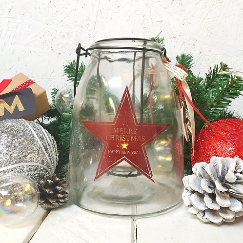 Large glass hanging candle holder with Merry Christmas Star