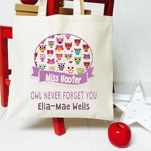 Personalised Owl + Banner teacher tote bag