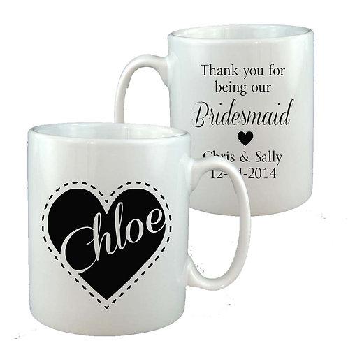 Bridesmaid Heart Personalised Mug