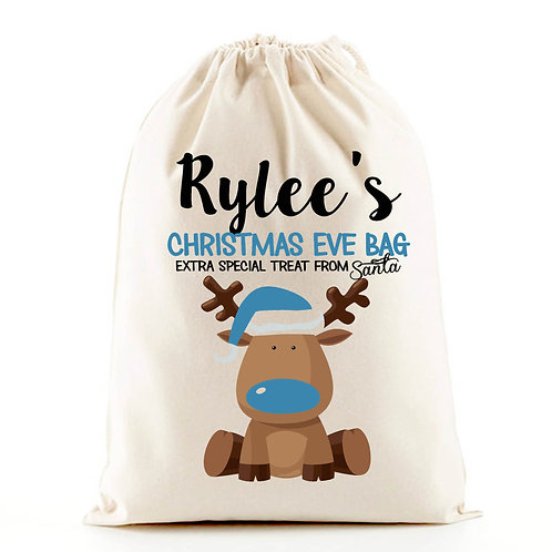 Boy reindeer Christmas Eve gift bag.