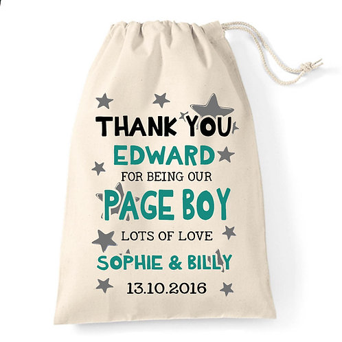 Page Boy cotton Gift Bag wedding Thank you.