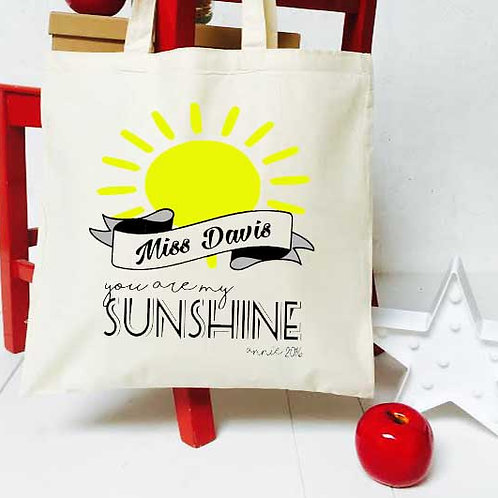 Personalised  you are my sunshine teacher tote bag