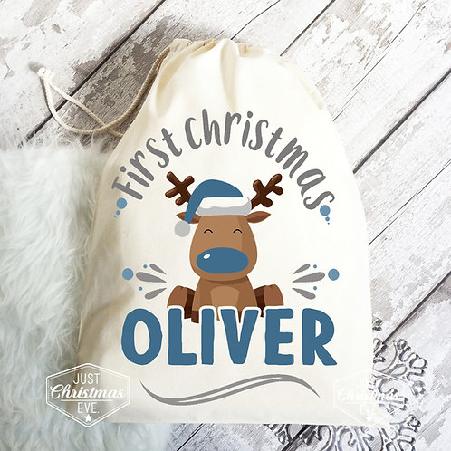 Little boy first Christmas cotton gift bag.