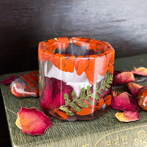 Passion and Creativity Tealight (Red Jasper and Rose)