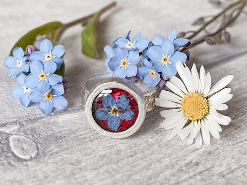 Adjustable Silver Rose Petal and Forget-Me-Not Ring