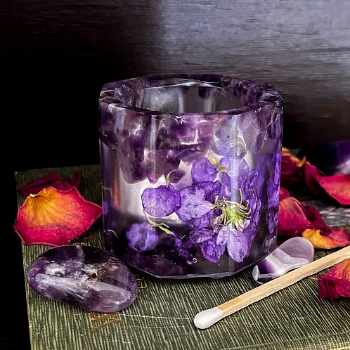 Stability and Peace Tealight (Amethyst and Stocks) pre order