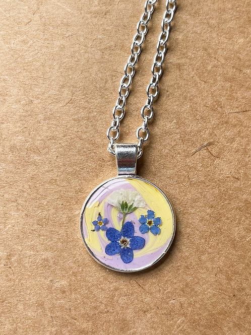 Pastel Forget Me Not and Babys Breath Pendant