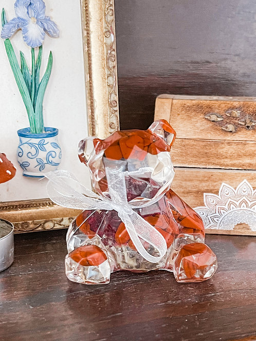 Passion and Creativity Bear (Red Jasper and Rose)