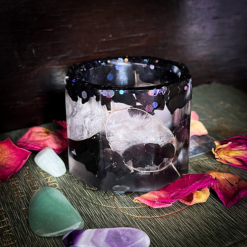 Protection and Prosperity Tealight (Black Onyx and Honesty) pre order