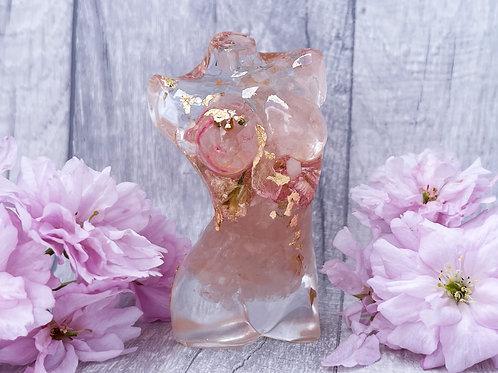 Rose Quartz 24ct gold Goddess