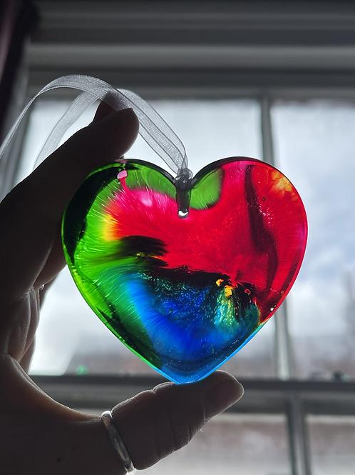 Charity Rainbow Heart Light Catcher