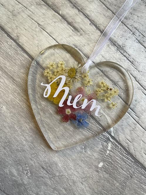 Mum Wildflower hanging heart