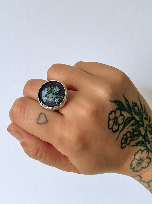 Adjustable Silver Forget-Me-Not Ring