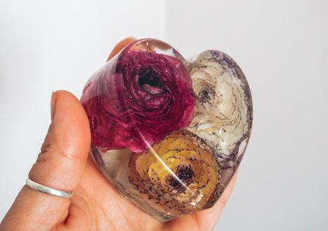 Ranunculus in 8cm heart