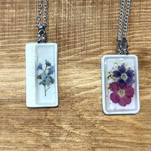 Ceramic pressed flower necklaces