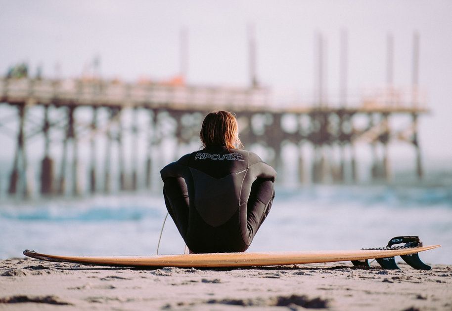 Surfer on shore