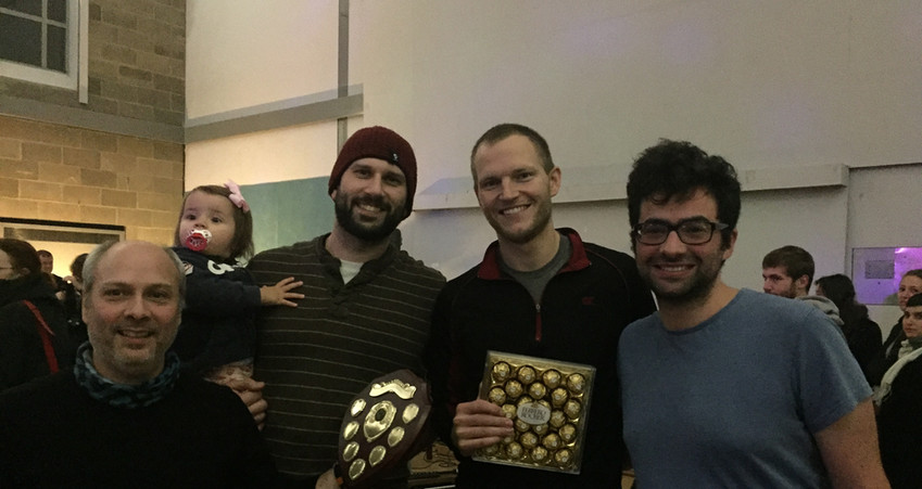Table Football Champions Lorenzo and Scott with Runners-Up Quentin and Benjy (Nov 2018)
