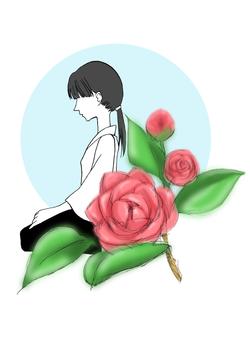 剣道少女と牡丹