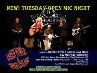 NEW! Open Mic Nights Wednesdays at Bay Moorings Restaurant (7-10pm)