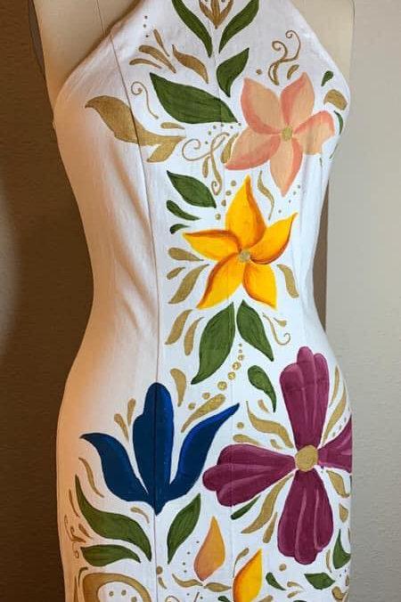 Vestido Mayo Blanco Flores colores