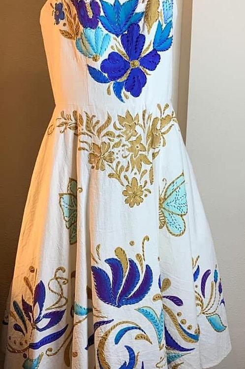 Vestido Cozumel Blanco en dorado y azul