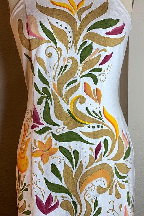 Vestido Halter Blanco , cuello Corona hojas doradas