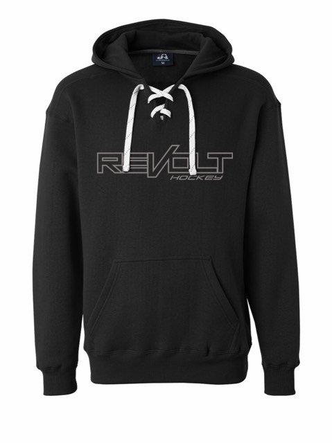 Black Revolt Logo Hockey Lace Hoodie