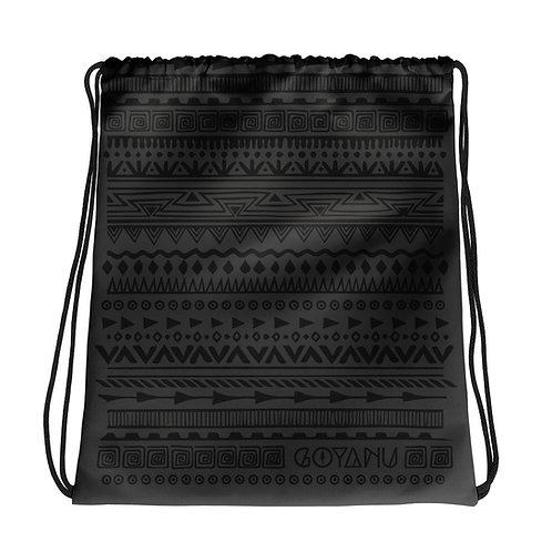 Drawstring bag Goyanu Tribal Pattern dark gray