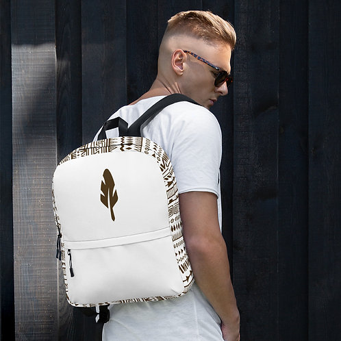 Backpack Goyanu Tribal Pattern white with golden brown