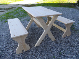 Table et bancs bois brut