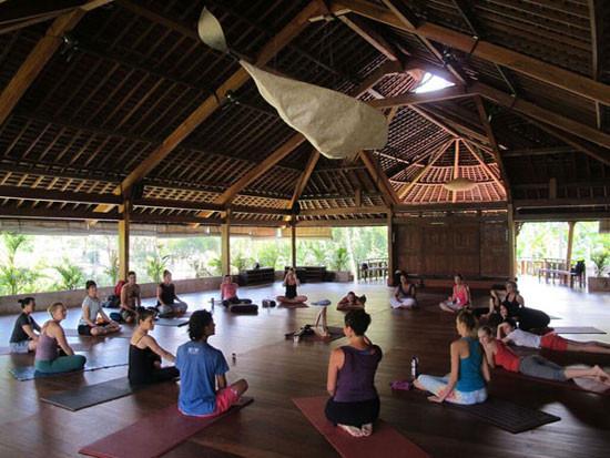 Phòng tập yoga mở, với nhiều cây cối xung quanh -Yoga Barn - Bali