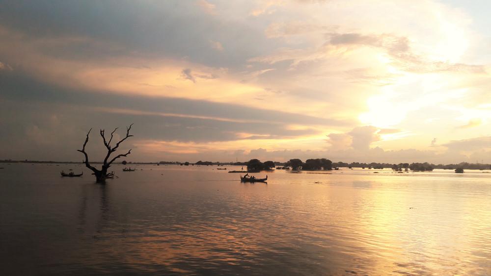 Cái cây cô đơn xuất hiện trên hầu hết các bức ảnh về cầu gỗ Ubein - Mandalay Myanmar