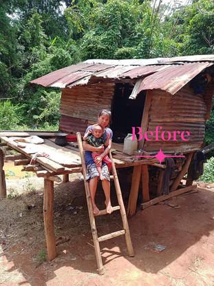 Quyên góp xây cho mẹ con em Diên một mái nhà che nắng mưa.