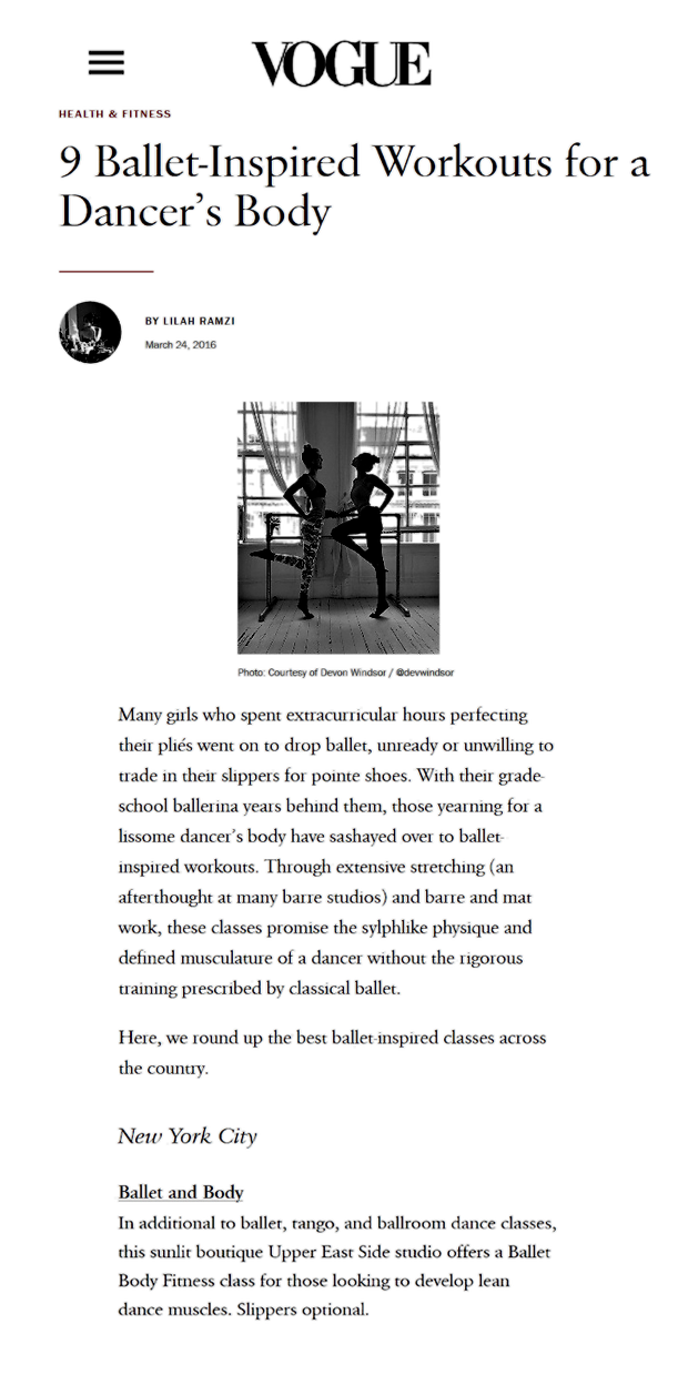 Vogue on Ballet Body (TM) Barre to get a Dancer's Body